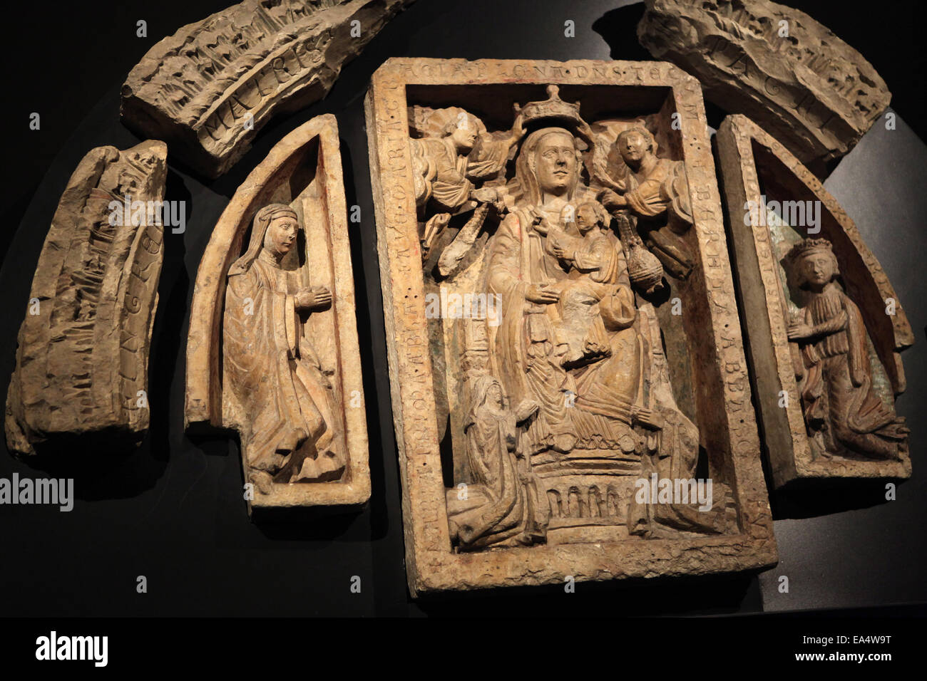 Romanesque tympanum from St George Basilica at Prague Castle in Prague, Czech Republic. - Stock Image