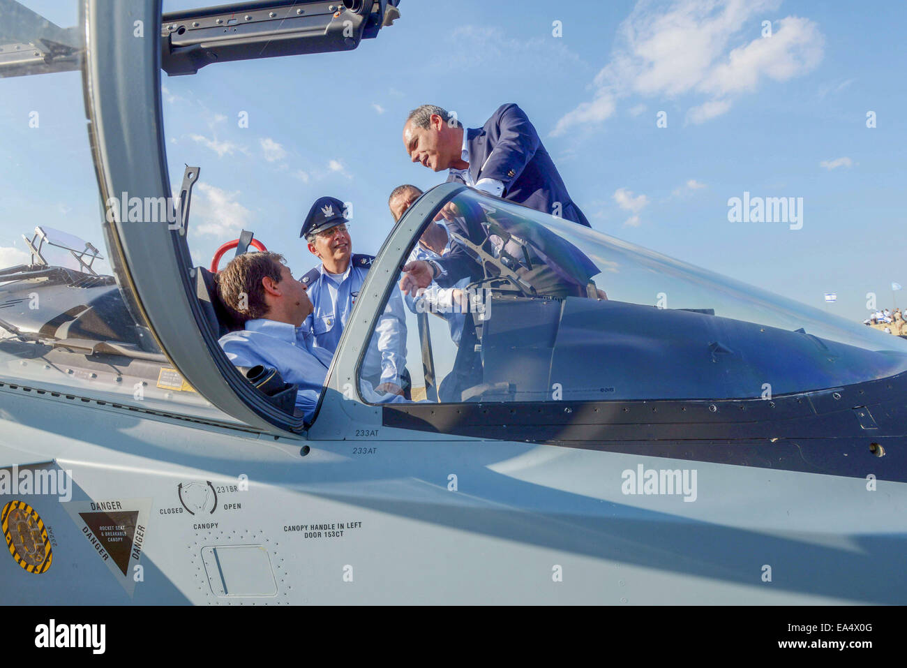 Jerusalem, Israel. 6th Nov, 2014. The Israeli Air Force new Lavi training aircraft is seen during a training flight - Stock Image