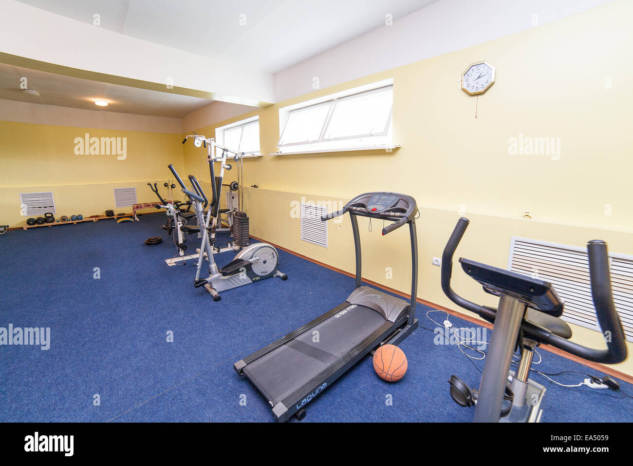 Traineger equipments in fitness center, gym - Stock Image