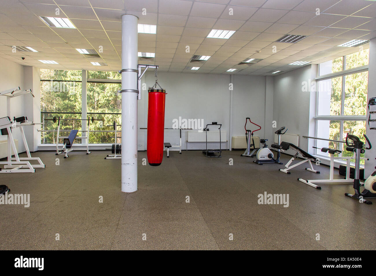 Traineger equipments in fitness center, punching ball, gym - Stock Image