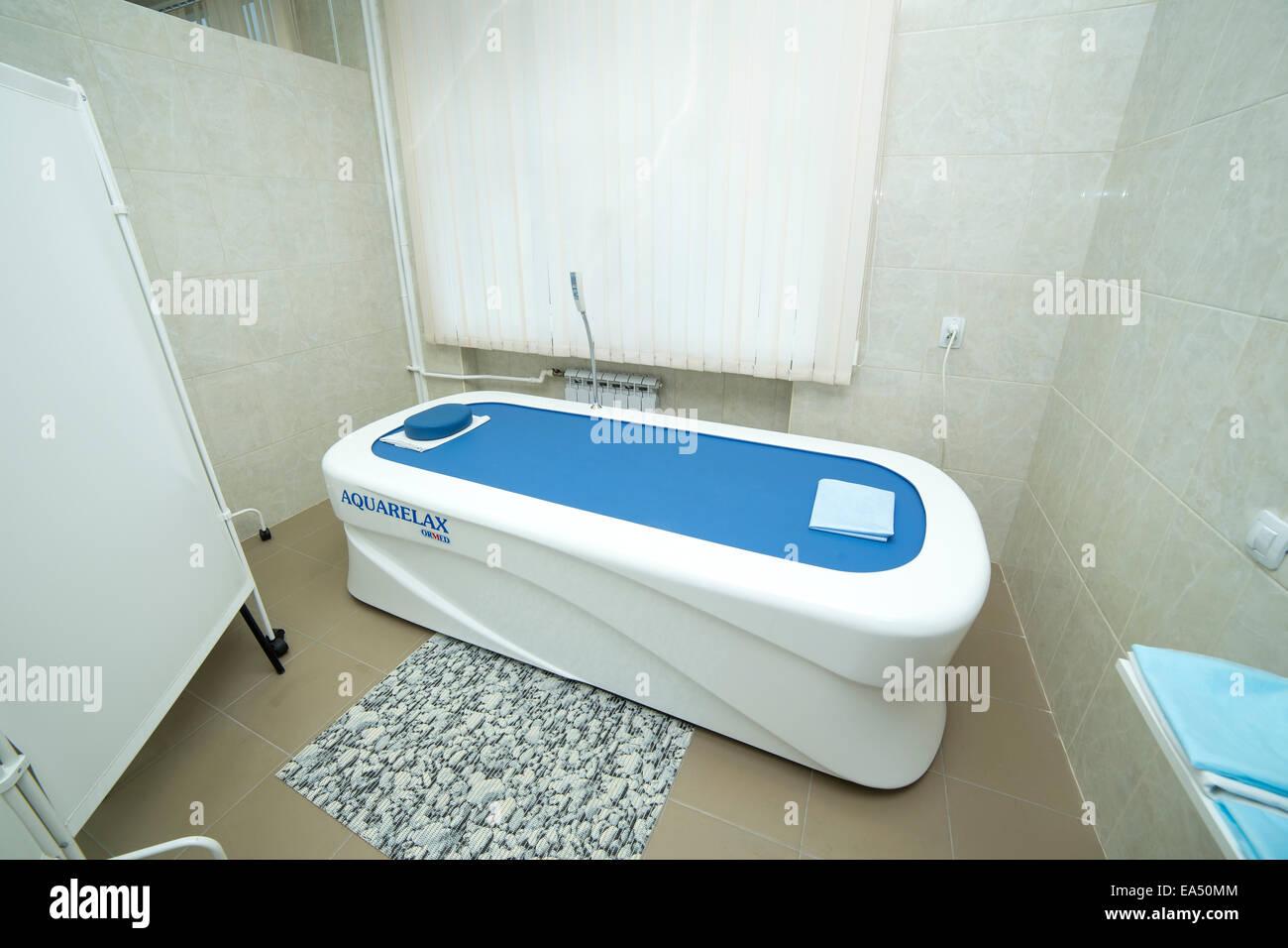 Bathtub for water massage, Aquarelax, spa salon Stock Photo ...