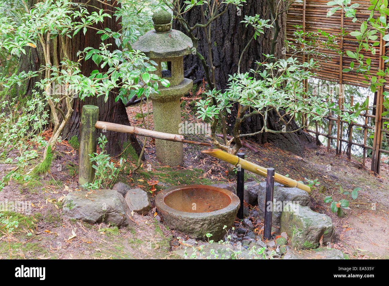 Tsukubai Water Fountain With Stone Basin And Bamboo Spigot And Stone  Lantern At Portland Japanese Garden