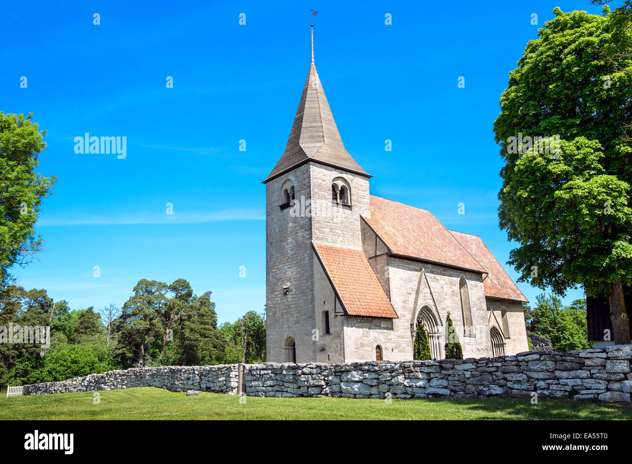 Medieval church in Gotland, Sweden - Stock Image