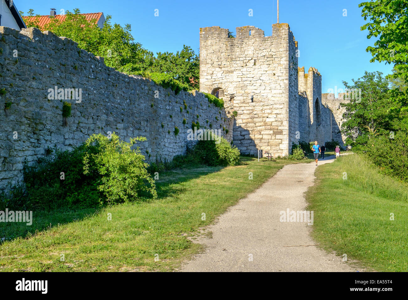 Visby city wall on Gotland in Sweden - Stock Image