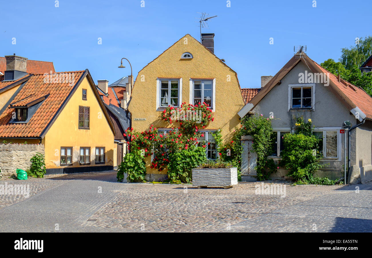 Residential buildings in medieval Hanse town Visby in Sweden. - Stock Image