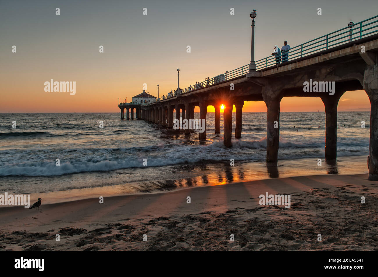 Sunset at Manhattan Beach, Los Angeles, CA - Stock Image