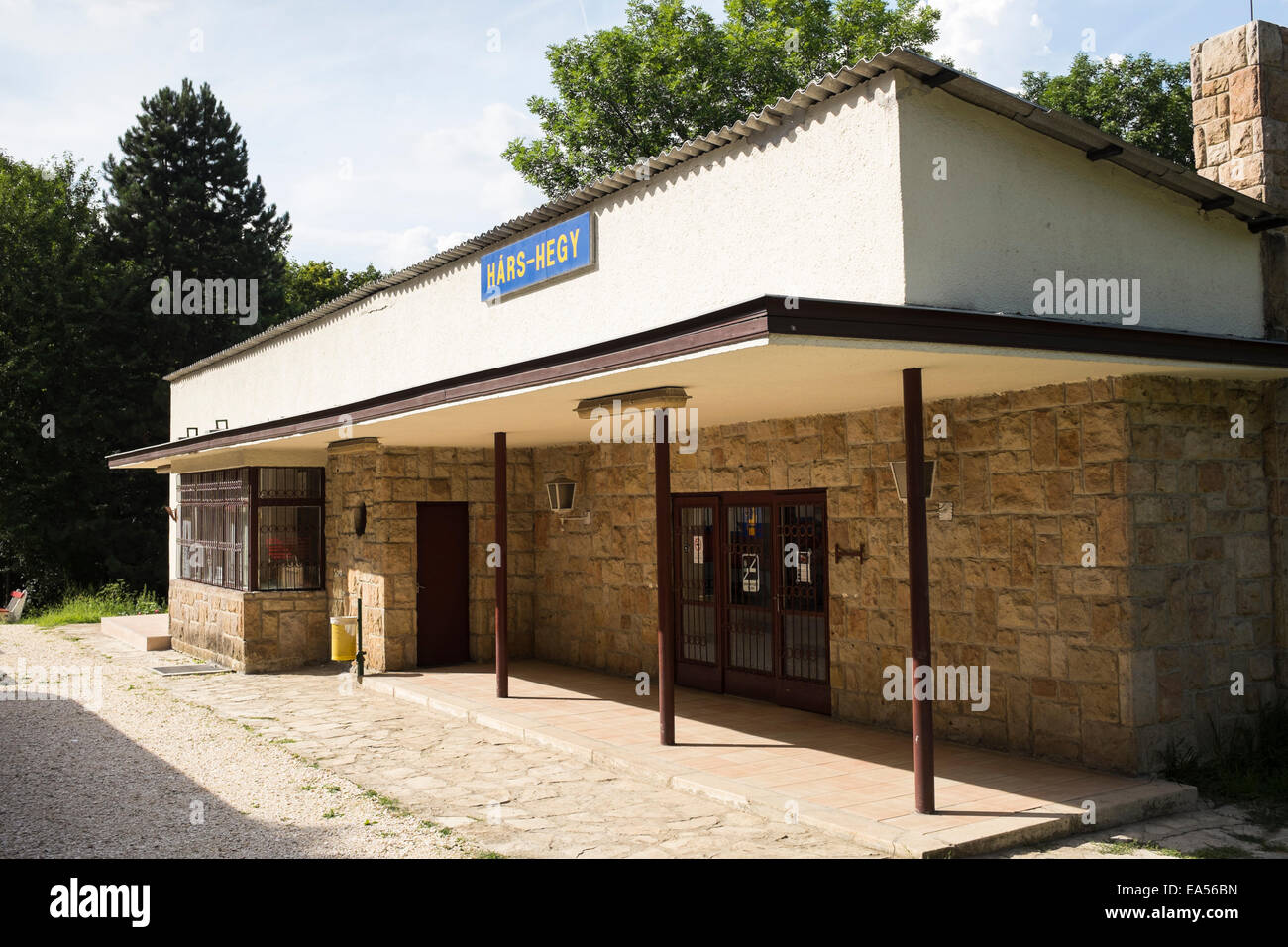 A station on the children's railway, on the outskirts of Budapest, Hungary Stock Photo