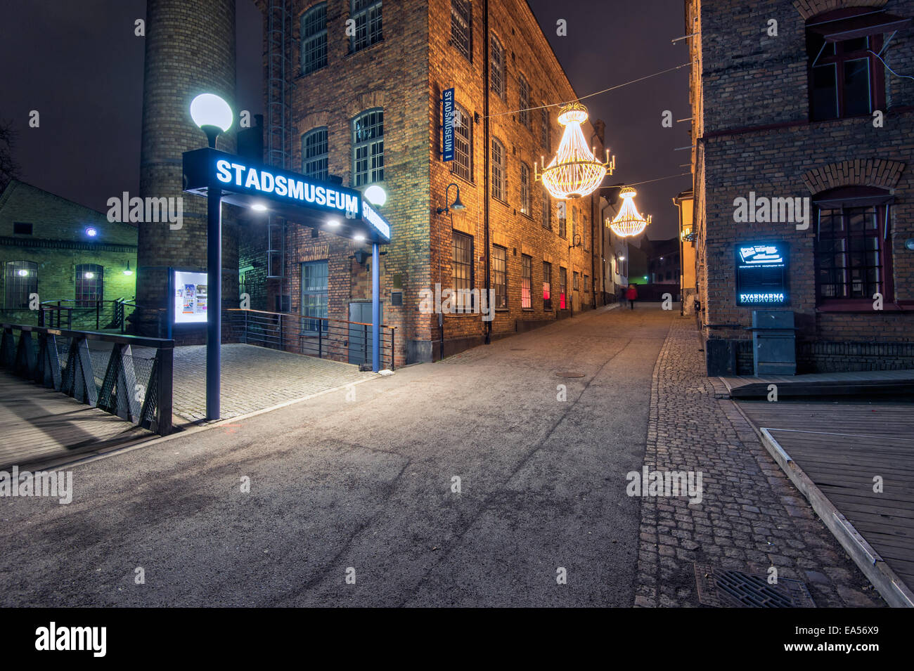 Christmas atmosphere in the old Industrial landscape of Norrkoping, Sweden - Stock Image