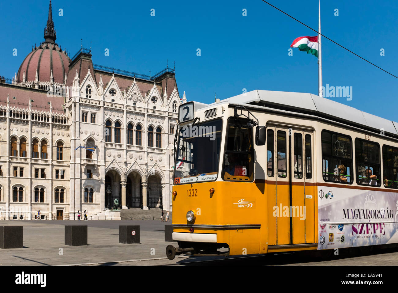 No. 2 yellow Tram in Parliament Square Budapest, Hungary. - Stock Image