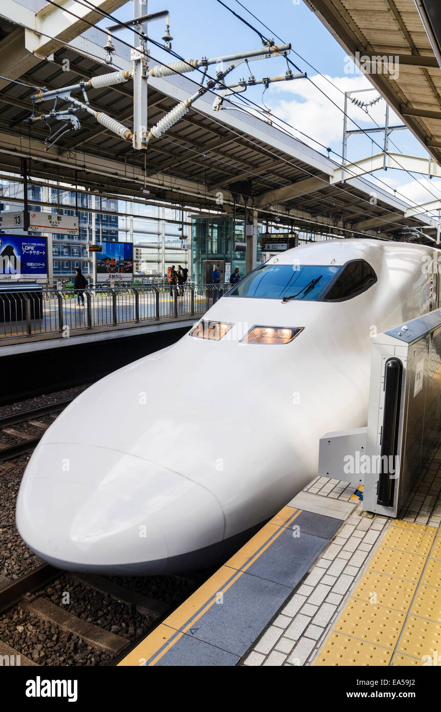 Shinkansen Japanese bullet train at Kyoto Station, Japan - Stock Image