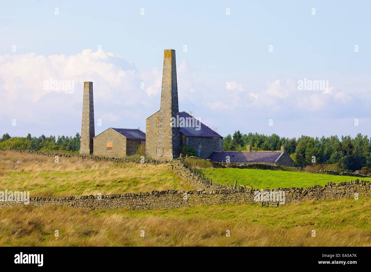 Old Lead Mining Chimneys and buildings, Stublick Farm, Stublick Moor, Allendale Town, Northumberland, England, UK. - Stock Image