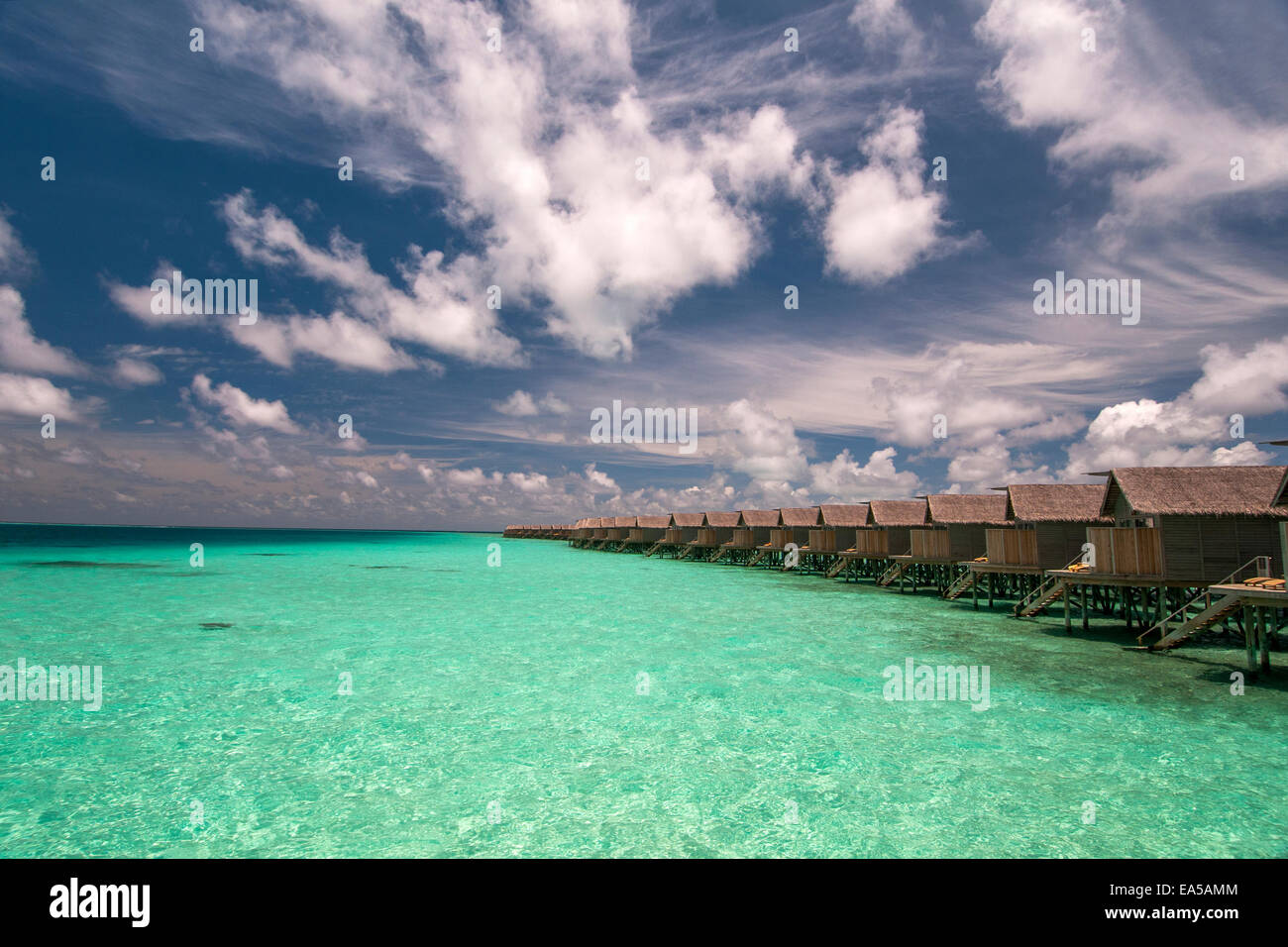 Water villas  on the  tropical island, Maldives - Stock Image