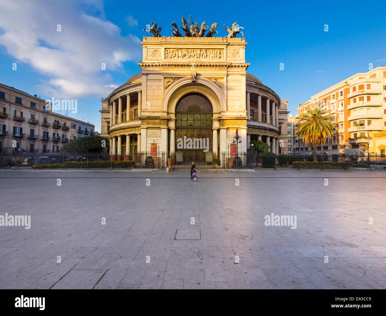 Italy, Sicily, Palermo, Teatro Politeama Garibaldi at Piazza Re Ruggero Settimo Stock Photo