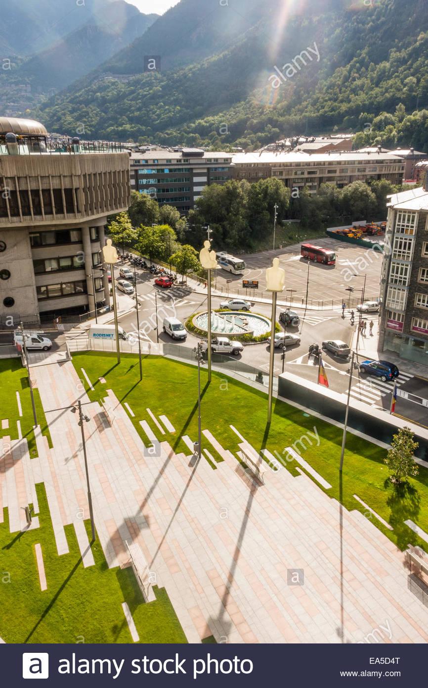 Andorra, Andorra la Vella, Parliament building and Placa Lidia Armengol Vila Stock Photo