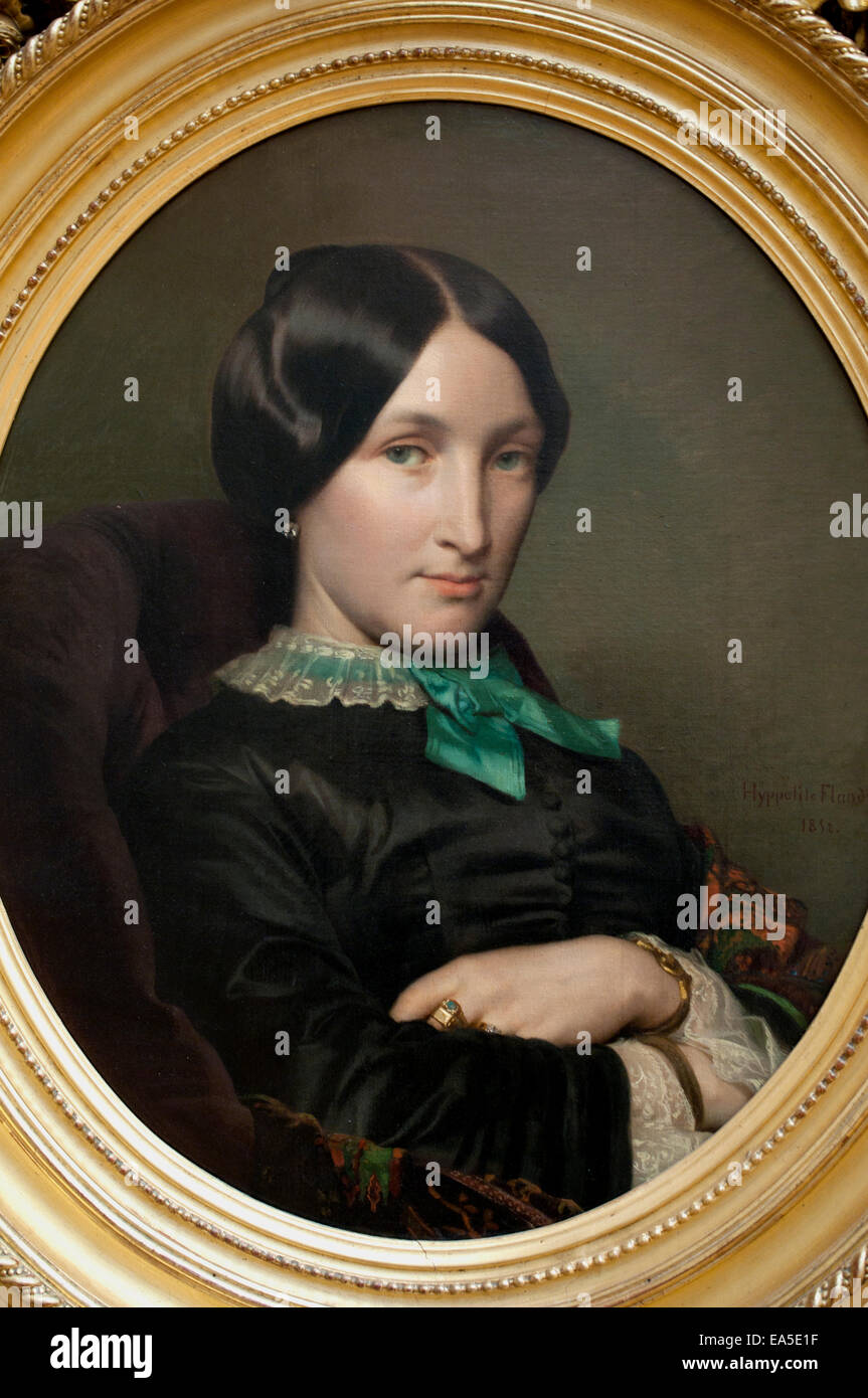 Portrait of the mother of Dr. Bordier (1852). Hippolyte Flandrin (1809-1864) France French - Stock Image