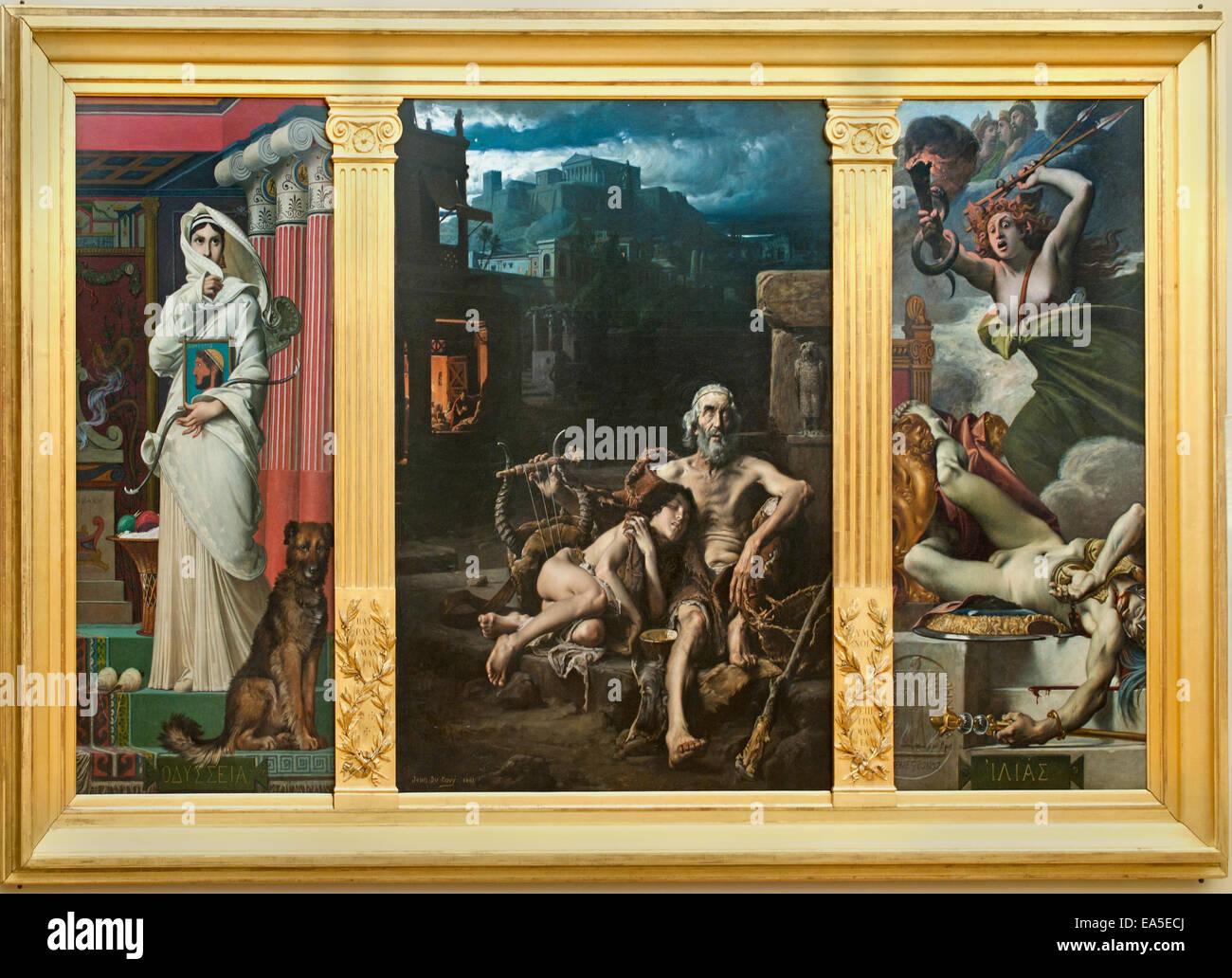 Homer beggar 1881 Triptych by Jean Jules Antoine Lecomte du Nouÿ 1842-1923 France French - Stock Image