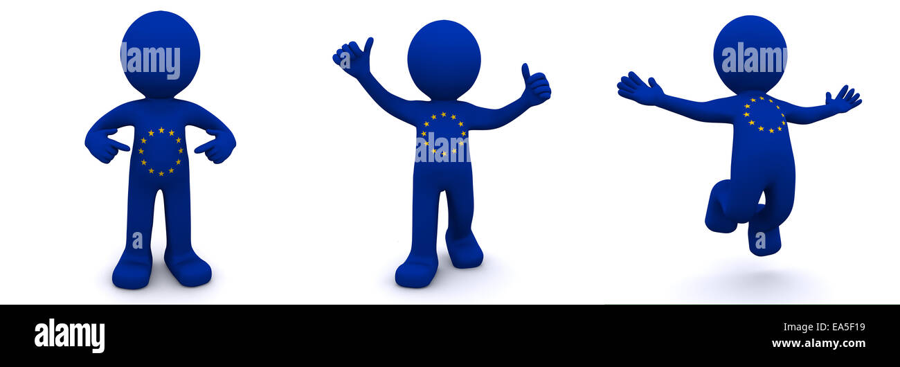 3d character textured with flag of European Union isolated on white background - Stock Image