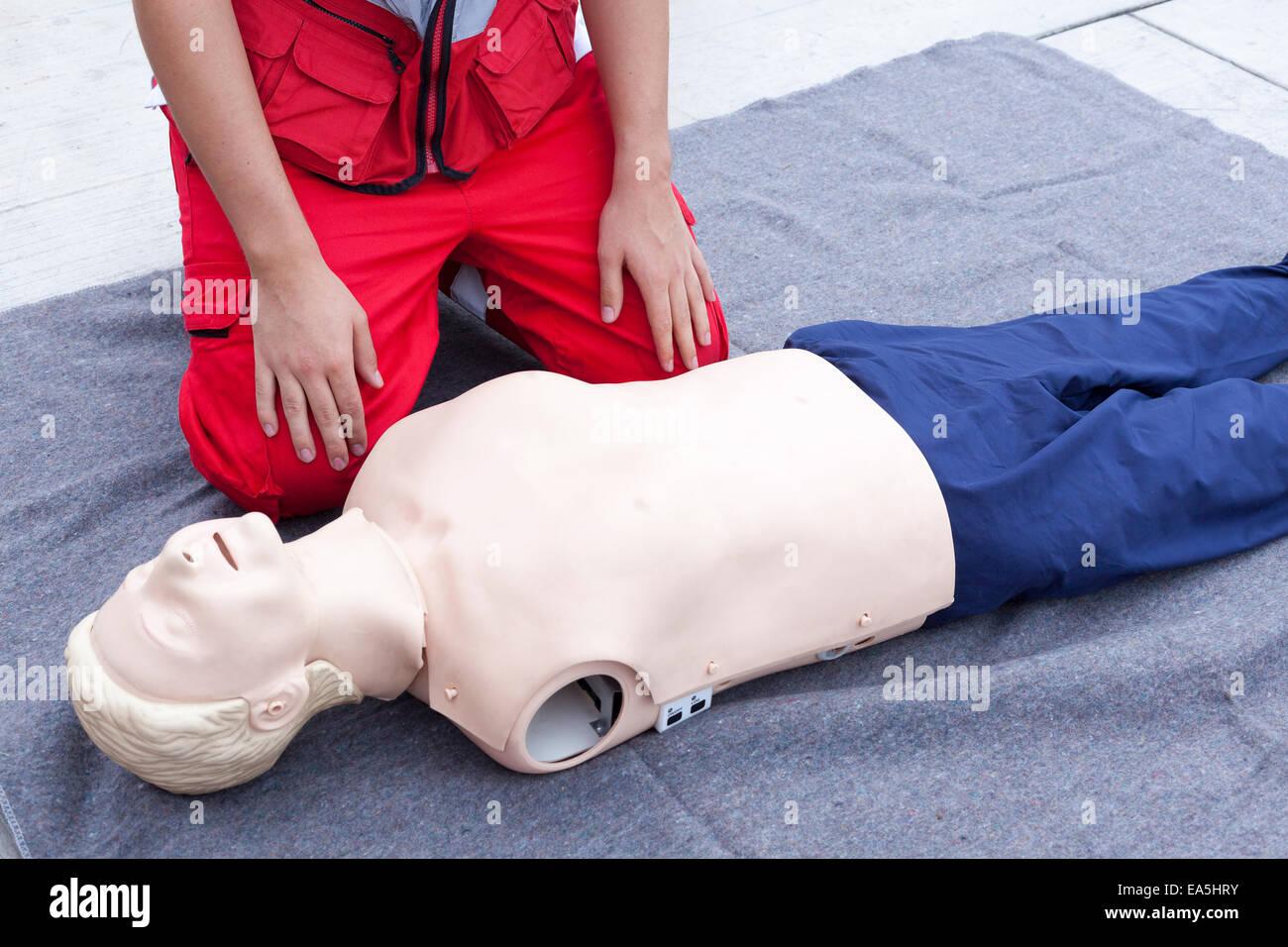 Cardiopulmonary Resuscitation Cpr Training Detail Stock Photo