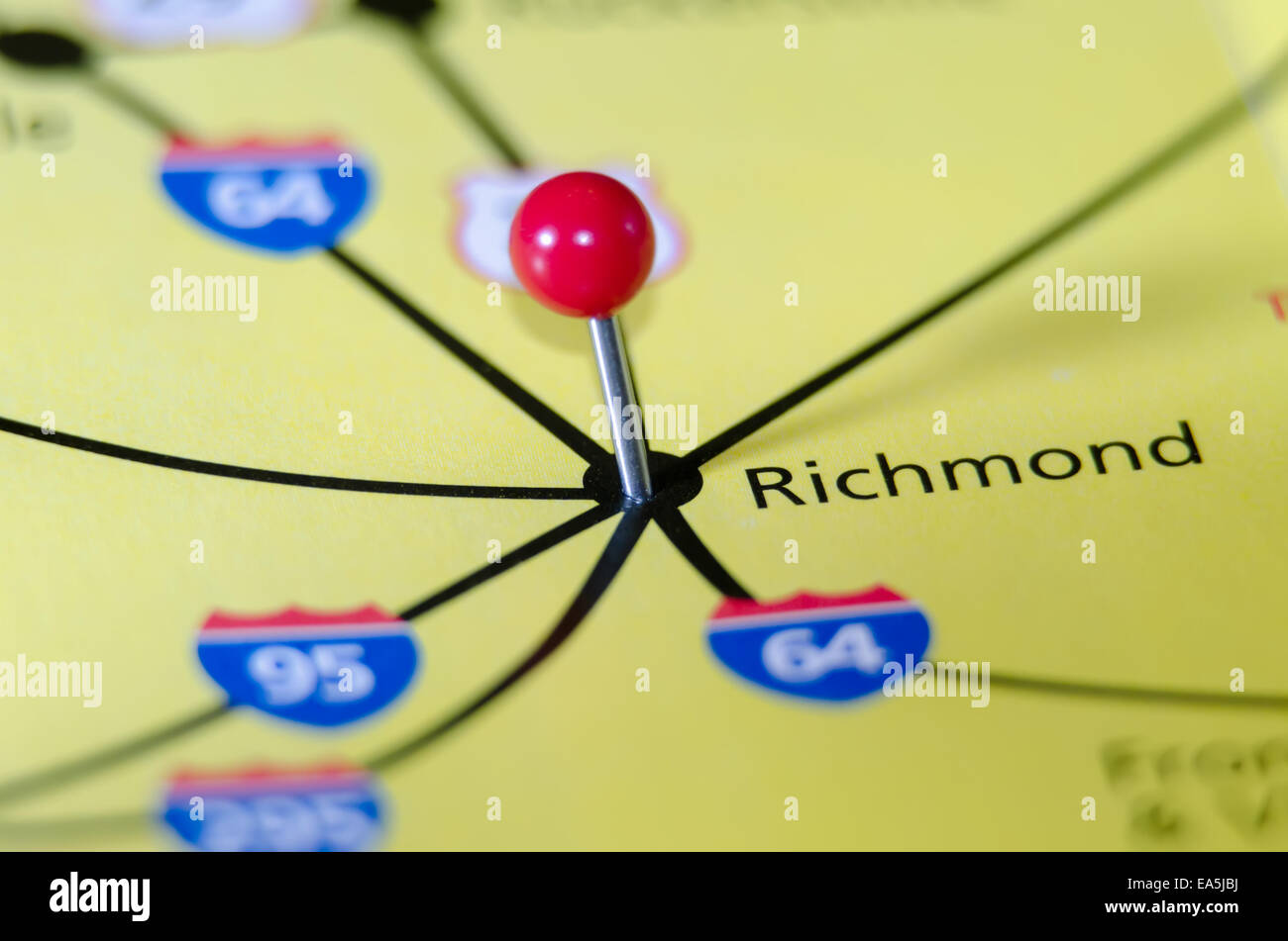 richmond virginia pin othe map Stock Photo: 75112230 - Alamy