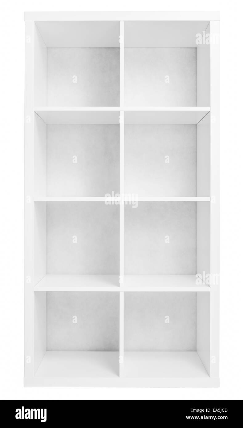 Empty Shelving Or Library Bookcase Isolated On White Stock