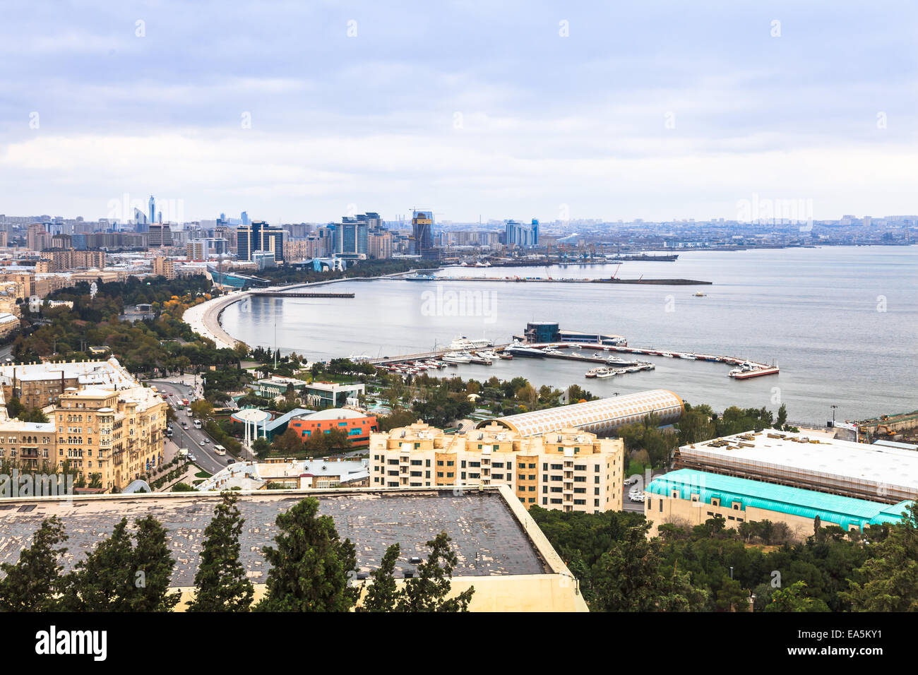 View of Baku and The Caspian Sea - Stock Image