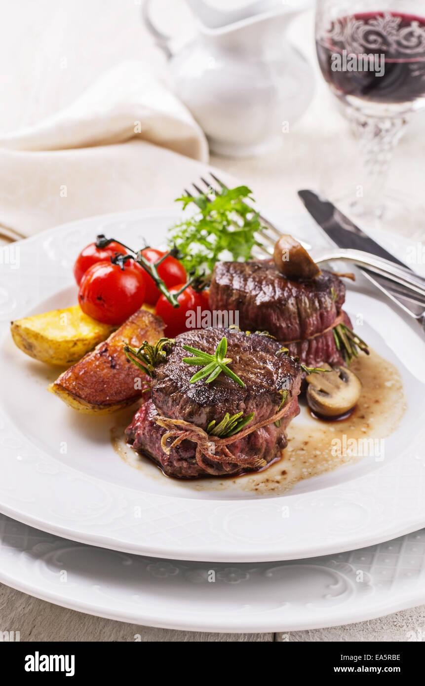 deer meat meddallions - Stock Image