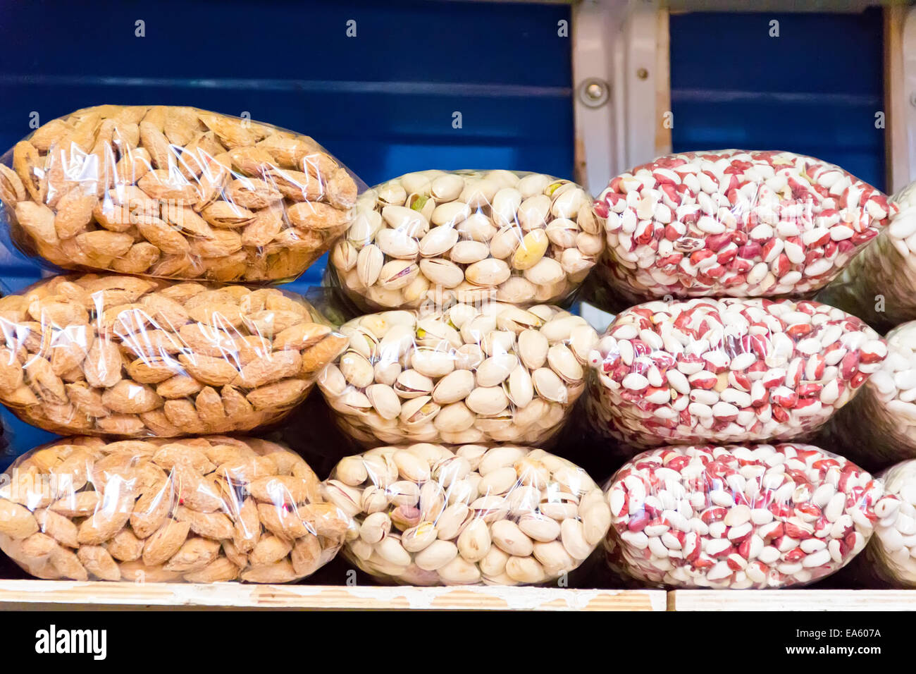 Counter in market place with bean and nuts - Stock Image
