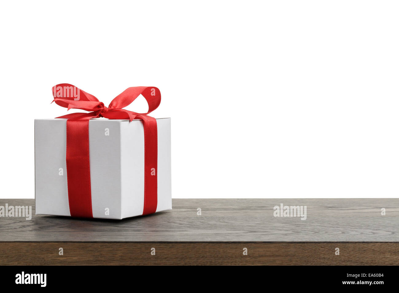 border with white gift box with red ribbon bow, holiday template ...