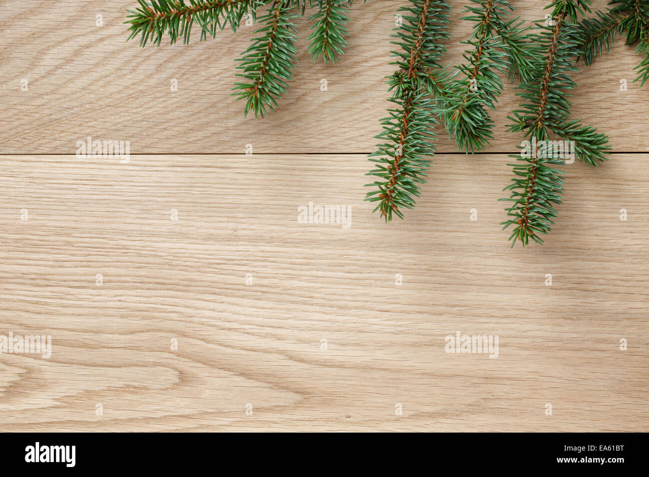 Christmas Tree Branch On Oak Table Rustic Background