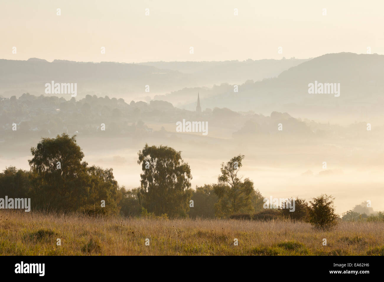 View towards Painswick village in the Cotswold Hills, from Scottsquar Hill. Gloucestershire. UK. - Stock Image