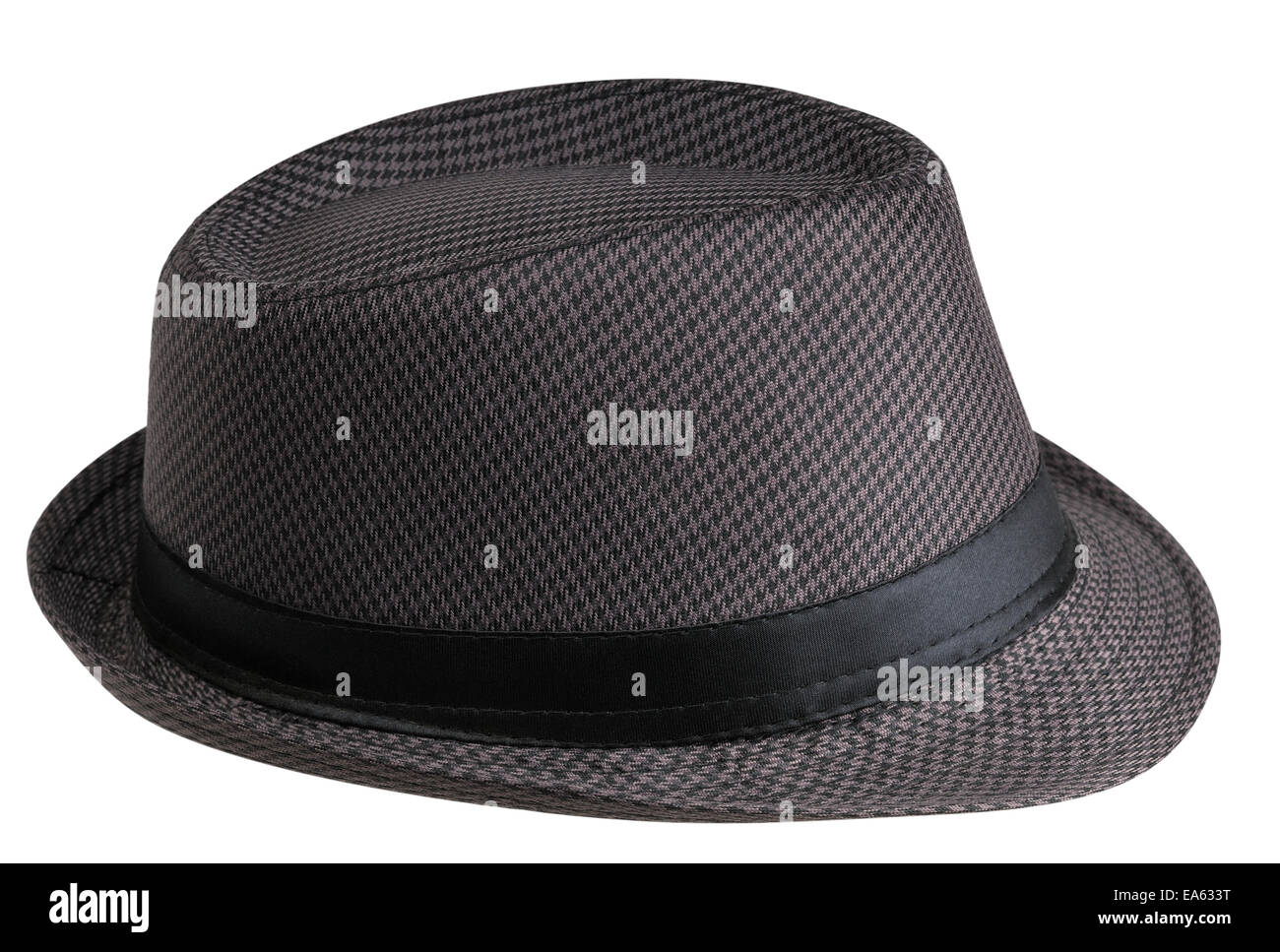Hat with short fields on a white background (right side view) - Stock Image