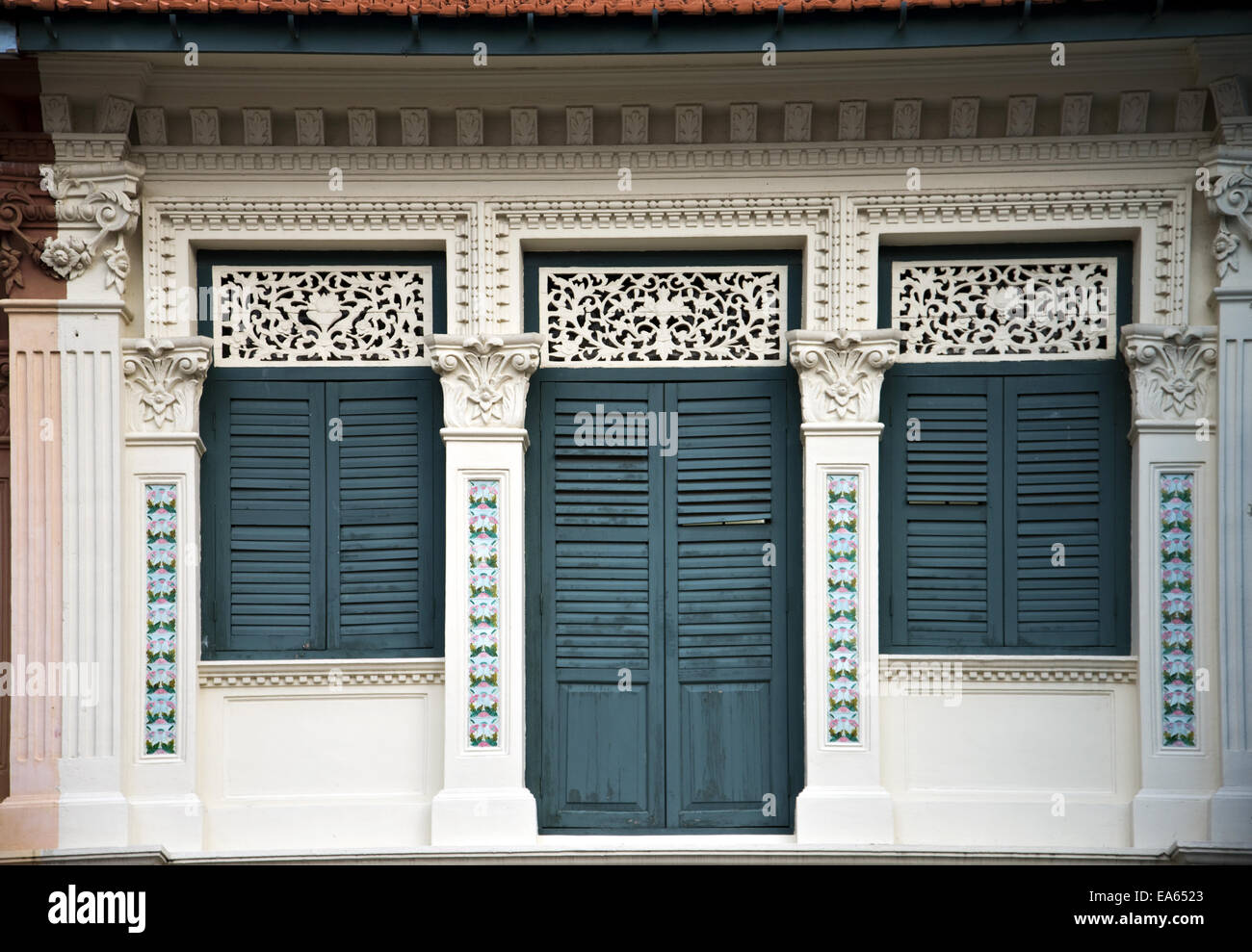 Detail of a southeast asian shophouse - Stock Image
