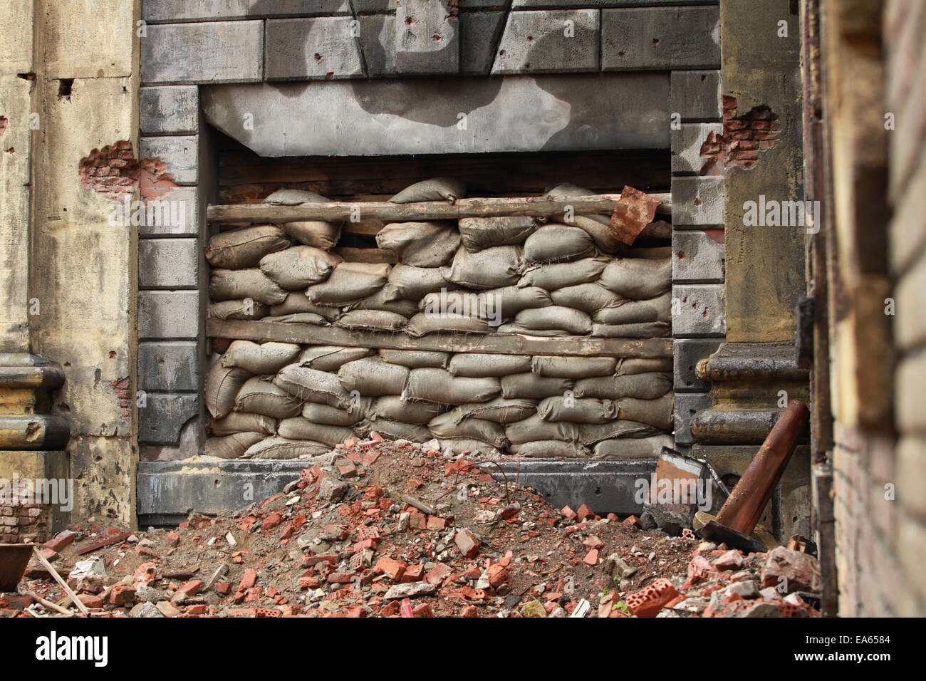 barricade of bags - Stock Image