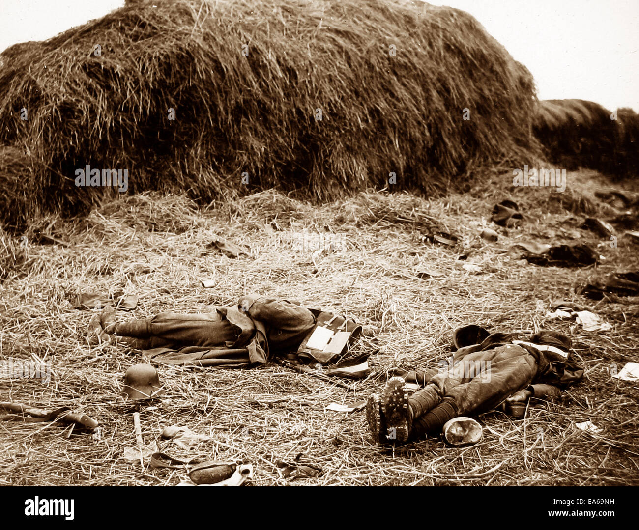 British soldiers Heule Battlefield Belgium 15th October 1918 - Stock Image