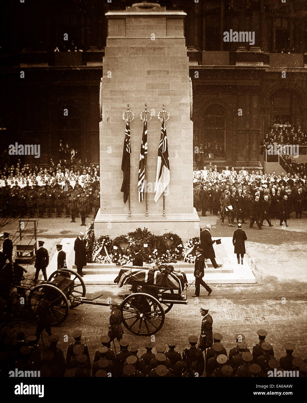 Cortege of the Unknown Warrior passing the Cenotaph in London - Stock Image