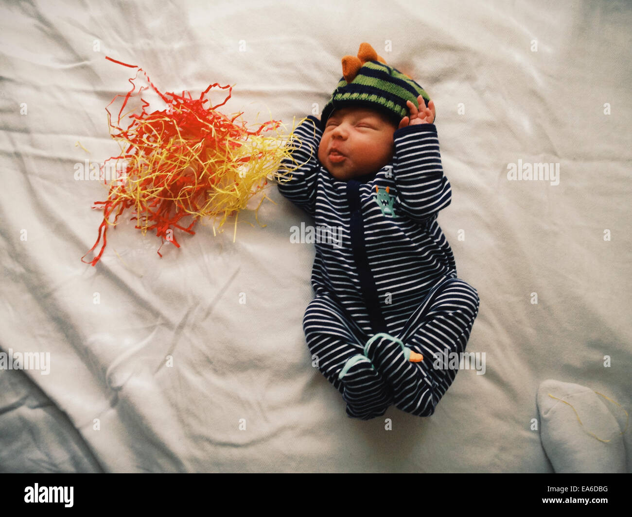 Baby boy making faces - Stock Image