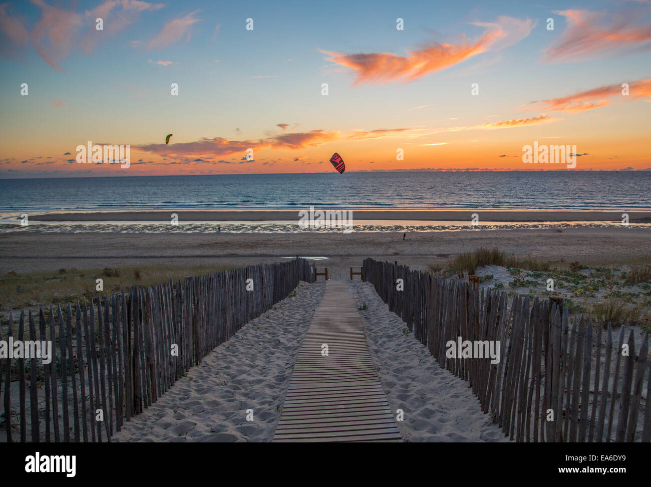 France, Aquitane, Mont-de-Marsan, Beach path - Stock Image
