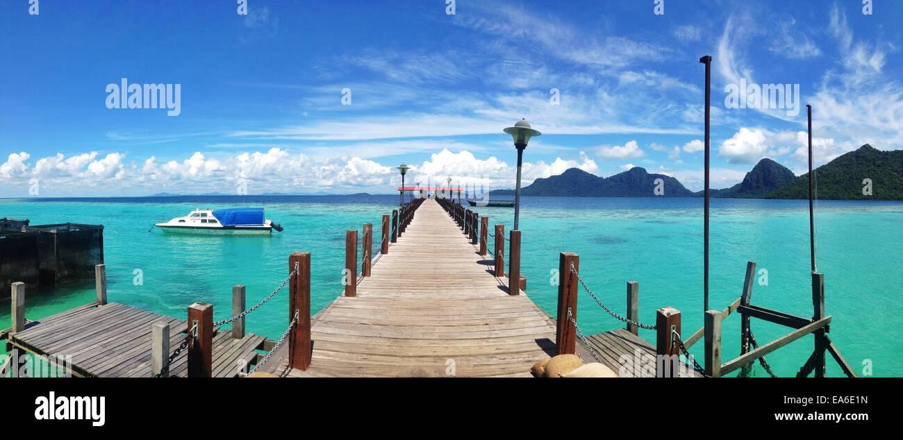 Malaysia, Sabah, Panoramic view of jetty on island - Stock Image
