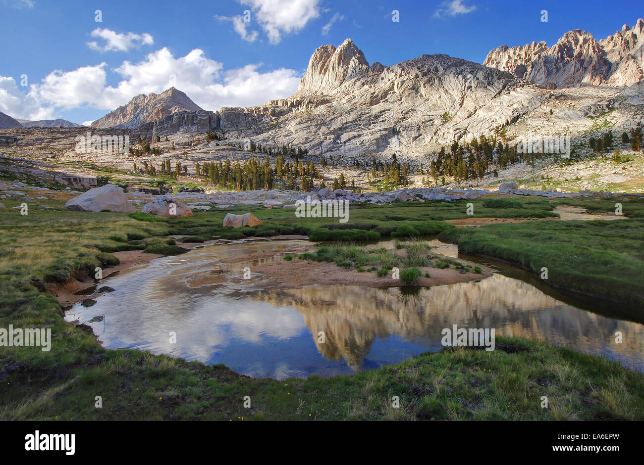 USA, California, Sequoia National Park, Reflections in Miter Basin Stock Photo