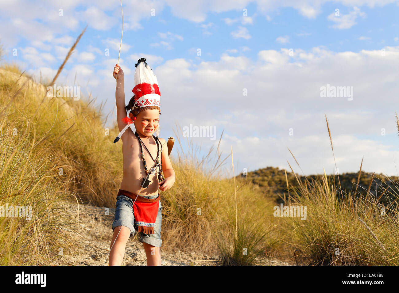 Boy in Indian costume - Stock Image