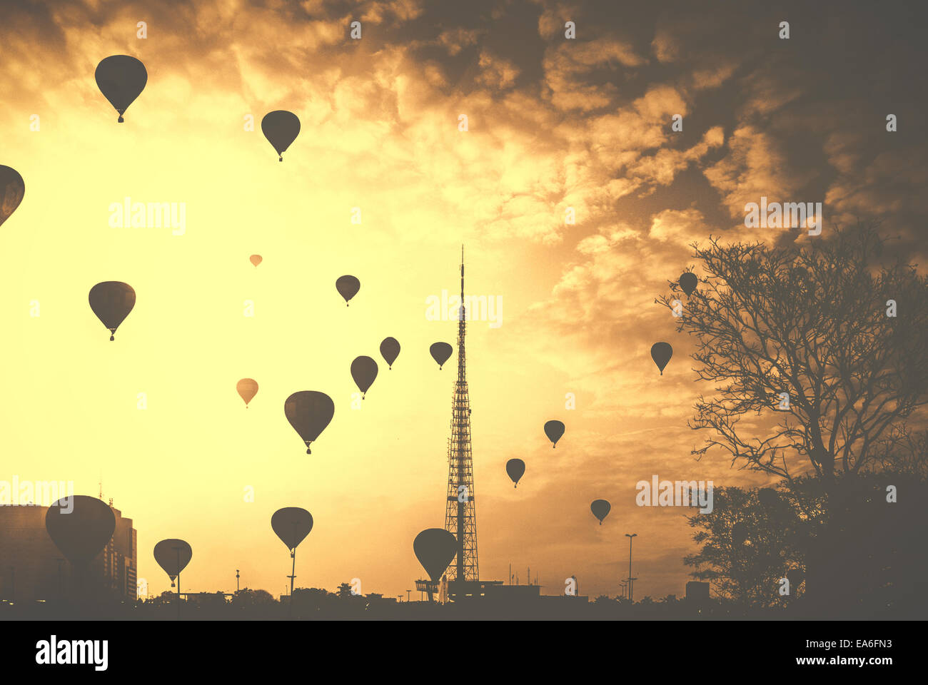 Brazil, Central-West Region, Brazil Federal District, DF, Brasilia, View of hot air balloons in sky - Stock Image