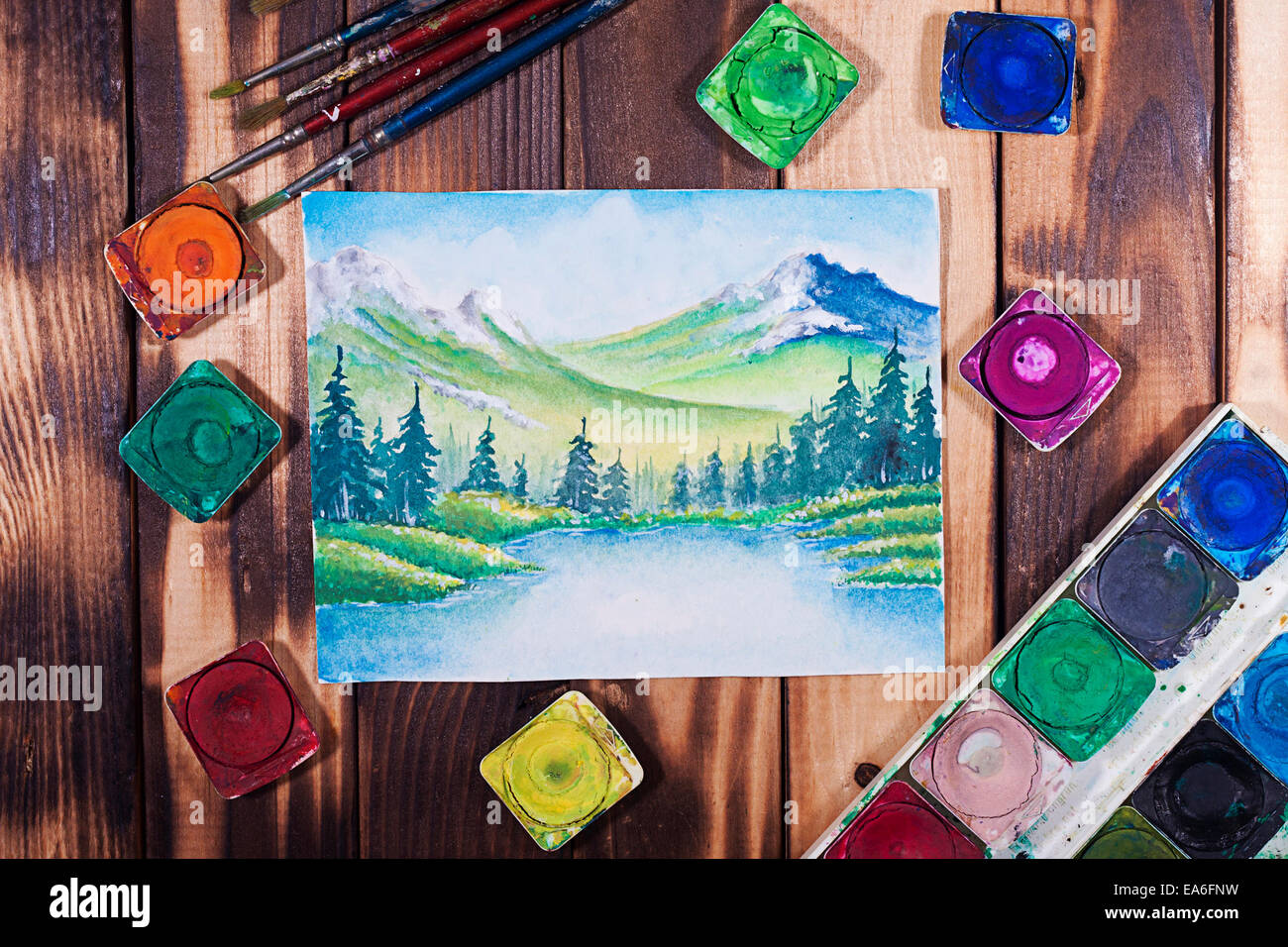 View of water color painting - Stock Image