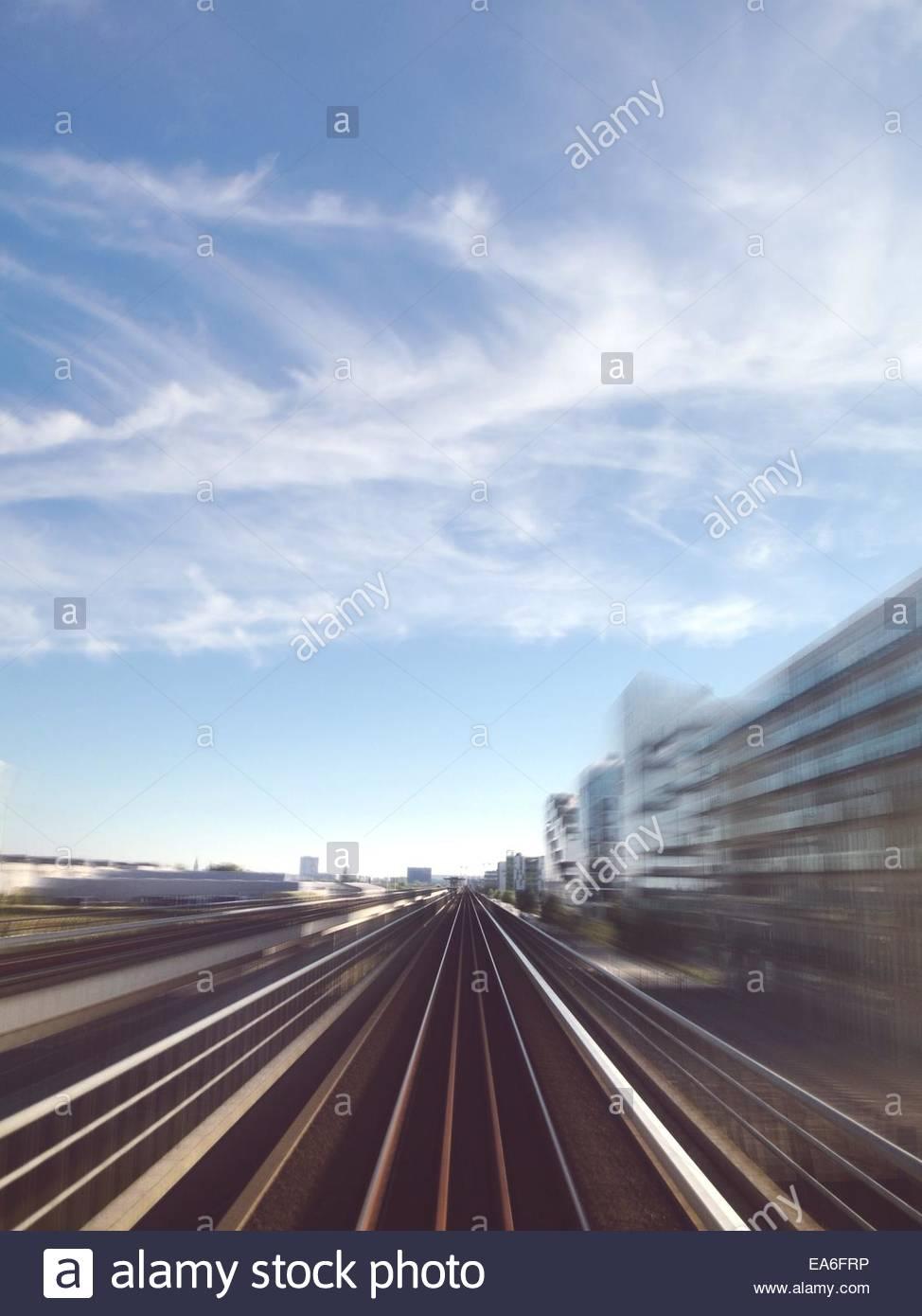 Denmark, Copenhagen, Railway tracks - Stock Image