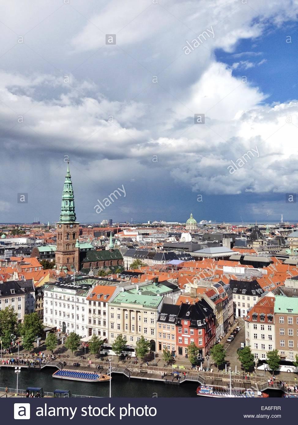 Denmark, Elevated view of Copenhagen cityscape - Stock Image