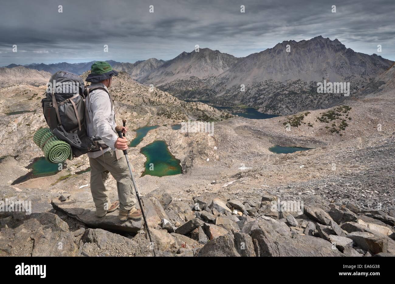 USA, California, Kings Canyon National Park, Hiker Atop Glen Pass - Stock Image
