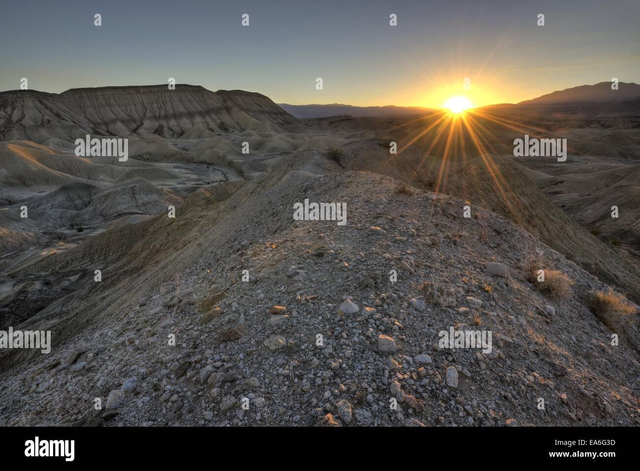 USA, California, Anza-Borrego Desert State Park, Fish Creek Mountain Area, Sunset in Desert - Stock Image