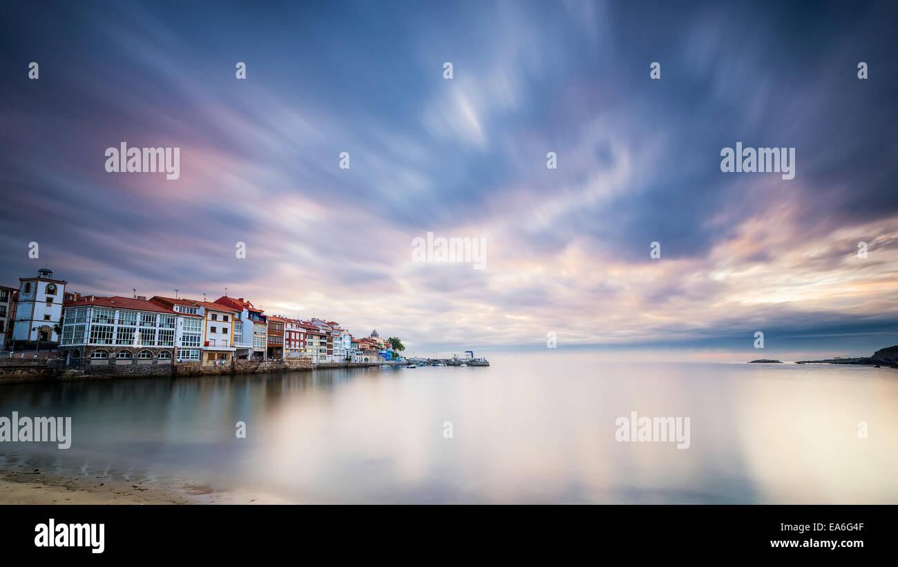 Spain, Asturias, Small village at sunrise - Stock Image