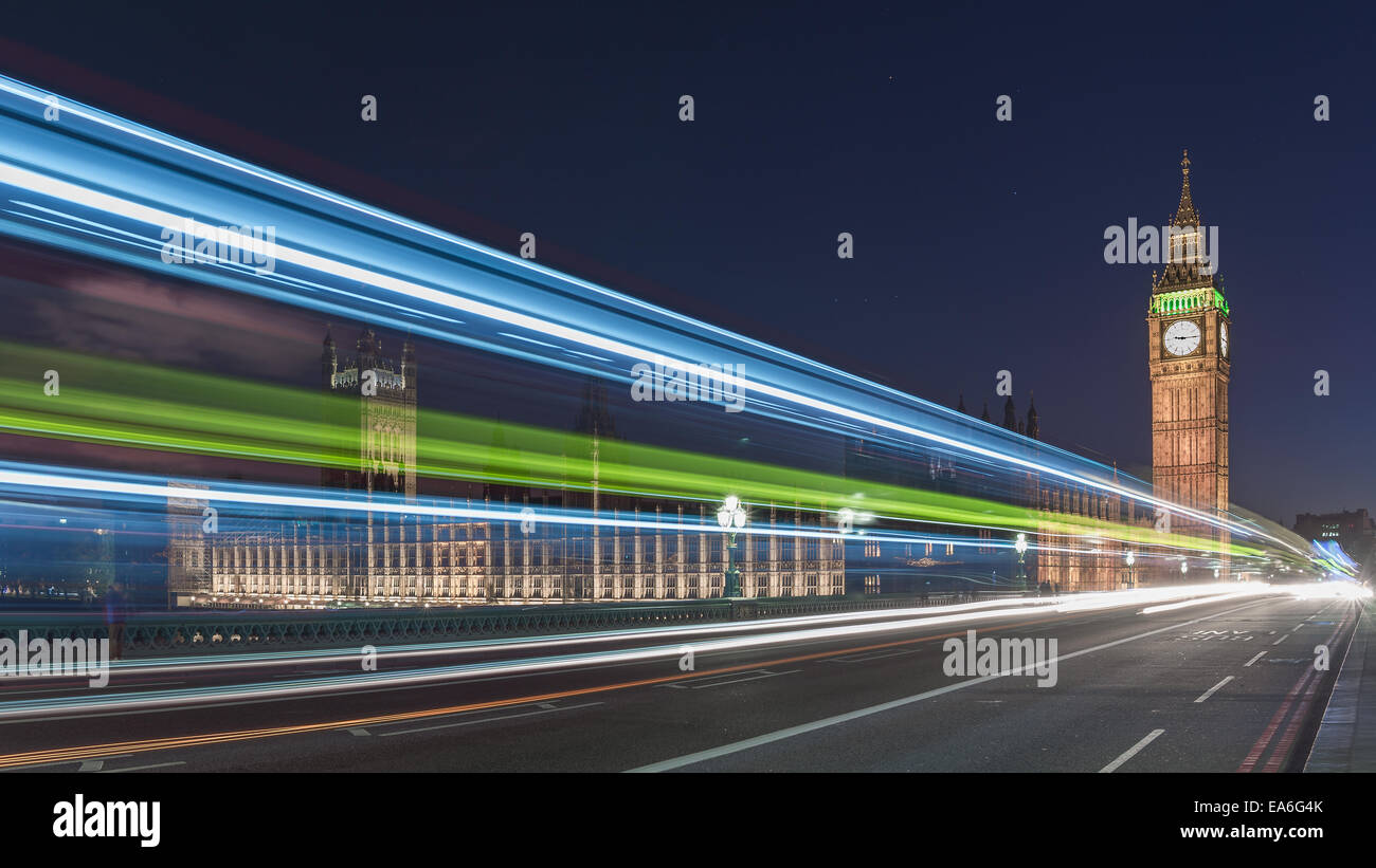 UK, England, London, Big Ben and Houses of Parliament at night - Stock Image