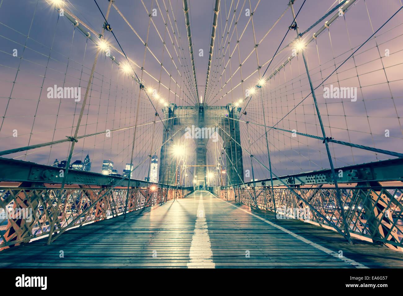 USA, New York State, New York City, View of Brooklyn Bridge - Stock Image