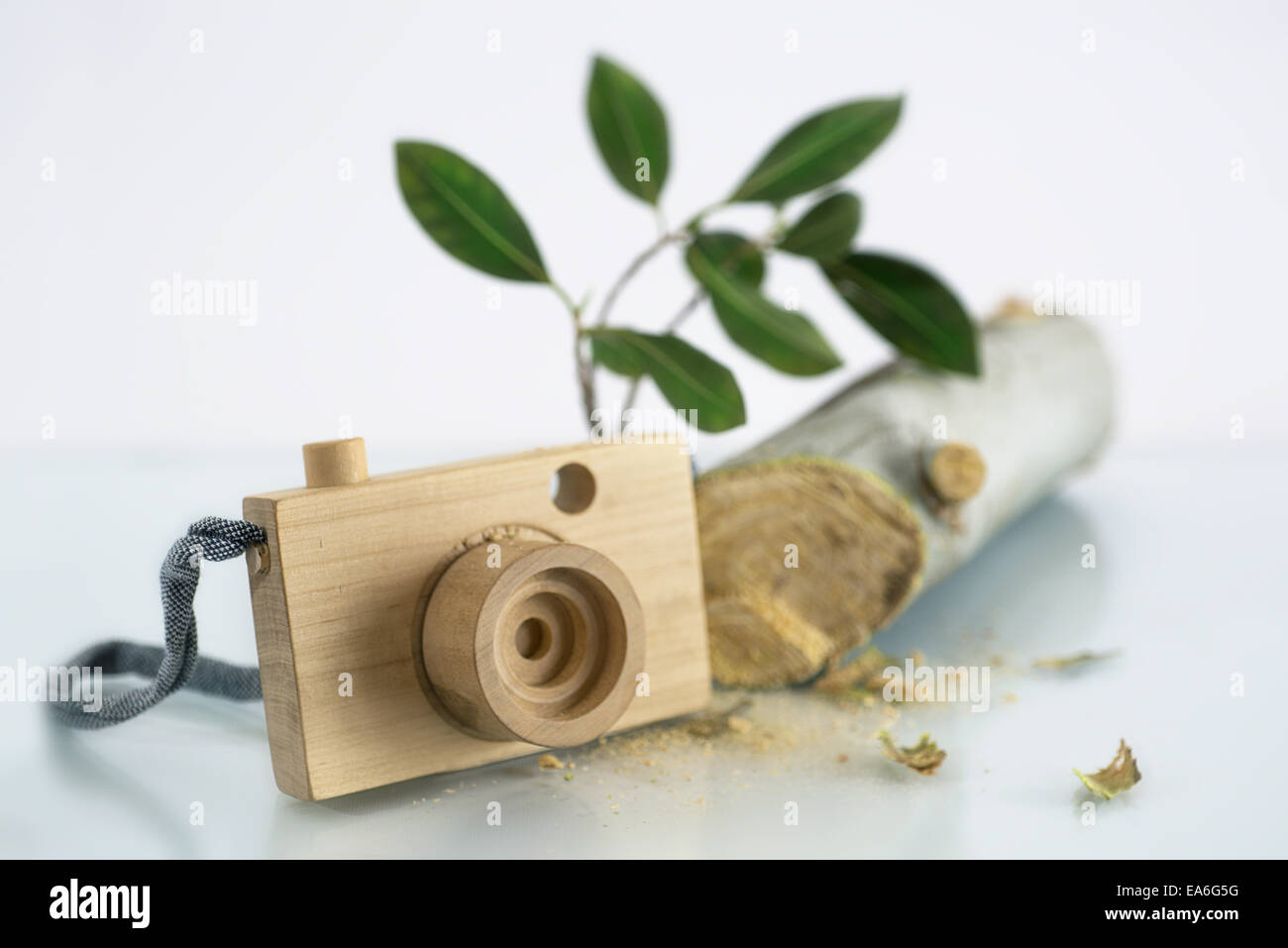 View of wooden camera - Stock Image